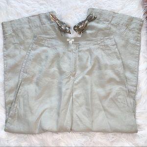 J. Jill Kaki 100% Linen Wide Leg Pants Size 12